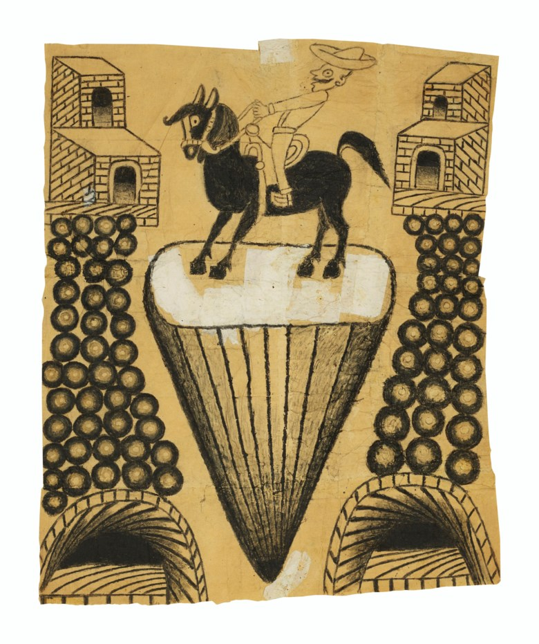 Martín Ramírez (1895-1963), Untitled (Abstracted Landscape with Horse and Rider), circa 1960-1963. Gouache and graphite on pieced paper. 24½ x 20 in. Estimate $40,000-60,000. Offered in Outsider Art on 17 January 2020 at Christie's in New York