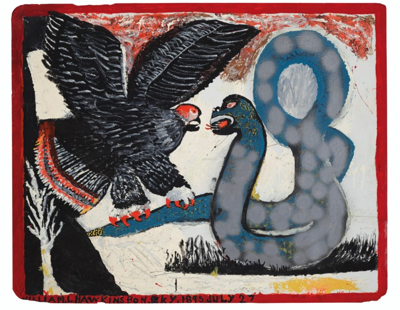 William Hawkins (1895-1990), Eagle and Serpent, circa 1982. Enamel on board. 47½ x 59½ in. Estimate $30,000-50,000. Offered in Outsider Art on 17 January 2020 at Christie's in New York