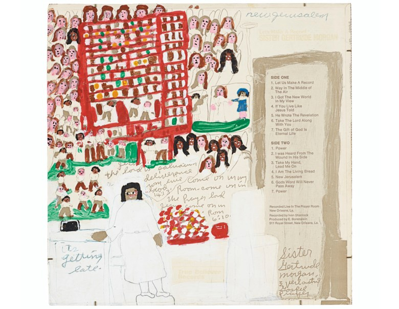 Sister Gertrude Morgan (1900-1980), Let's Make a Record. Acrylic and ink on printed record sleeve. 12¼ x 12⅜ in (31.1 x 31.4 cm). Estimate $2,000-4,000. Offered in Outsider Art on 17 January 2020 at Christie's in New York
