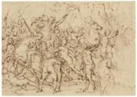 An equestrian battle scene (recto); Two studies of the head of Lorenzo de' Medici, after Michelangelo (verso)