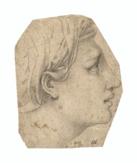 Cartoon for the head of a woman in profile to the right