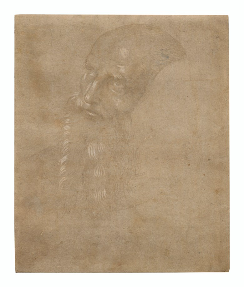 Pietro di Cristoforo Vannucci, called Perugino (c. 1450-1523), Head of a bearded man. Metalpoint (silverpoint) heightened with white on gray prepared paper. 9⅜ x 7¾  in (23.9 x 19.8 cm). Estimate $200,000-300,000. Offered in Old Master & British Drawings Including Works from the Collection of Jean Bonna on 28 January 2020 at Christie's in New York