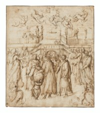 Allegorical scene with five Tuscan poets