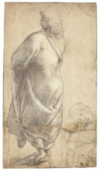 A young man seen from behind, cloaked, with a study of a young woman resting on her hand