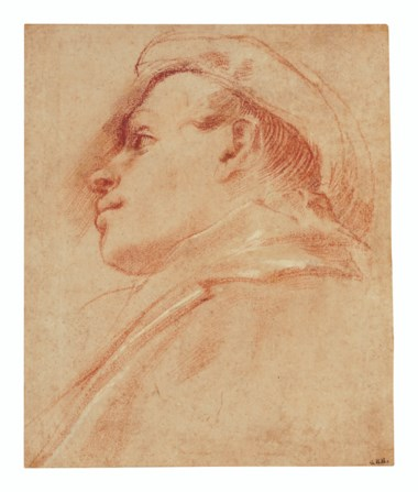 Annibale Carracci (1560-1609), Head of a young man wearing a hat, in profile to the left. Red chalk heightened with white. 8¾ x 8¼  in (22 x 18.6 cm). Estimate $30,000-50,000. Offered in Old Master & British Drawings Including Works from the Collection of Jean Bonna on 28 January 2020 at Christie's in New York