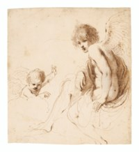Seated angel with a putto