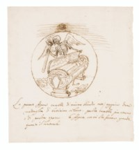 Design for a funerary medallion with Death standing by a sarcophagus