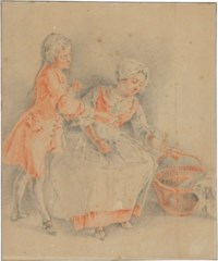 A young man and a seated woman