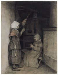 Two girls spinning and knitting