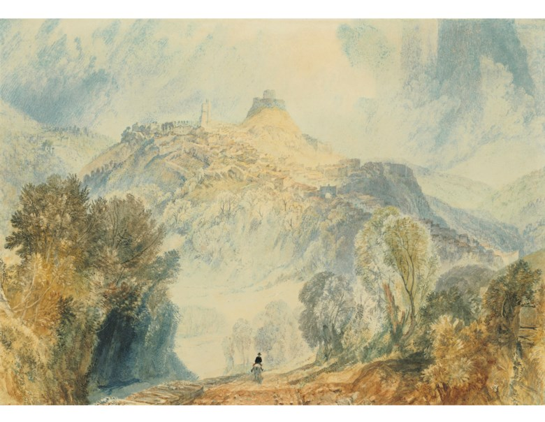 Joseph Mallord William Turner, R.A. (1775-1851), Launceston, Cornwall. Pencil and watercolour heightened with bodycolour and gum arabic and with scratching out. 11  in x 15½  in (27.9 cm x 39.4 cm). Estimate $400,000-600,000. Offered in Old Master & British Drawings Including Works from the Collection of Jean Bonna on 28 January 2020 at Christie's in New York