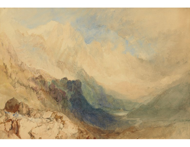 Joseph Mallord William Turner, R.A. (1775-1851), Mont-Blanc and the Allée Blanche from near the Col de la Seigne, France. Watercolour heightened with bodycolour and with scratching out. 9½ x 13½  in (24.2 x 34.3 cm). Estimate $400,000-600,000. Offered in Old Master & British Drawings Including Works from the Collection of Jean Bonna on 28 January 2020 at Christie's