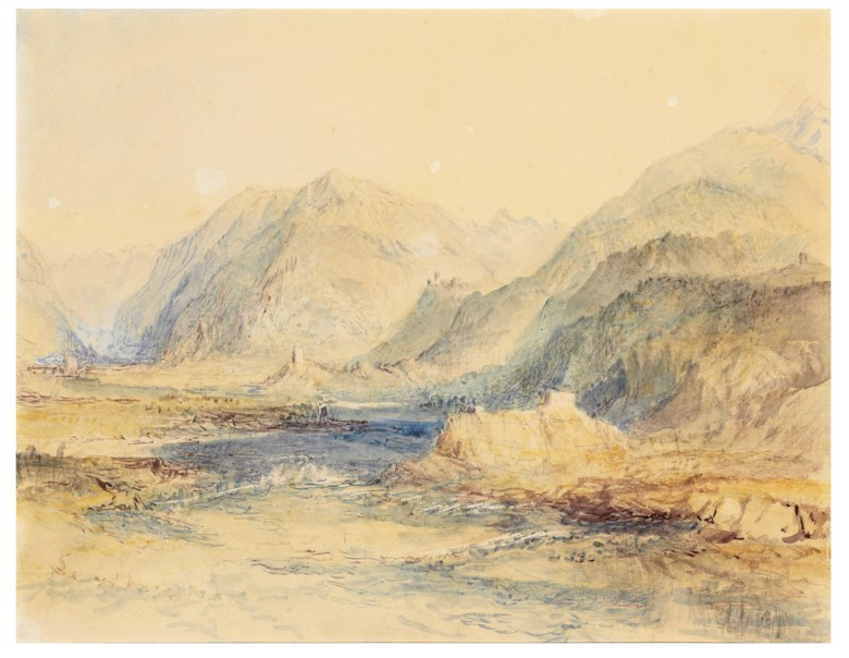 Joseph Mallord William Turner, R.A. (London 1775-1851), The Domleschg Valley Looking North, Switzerland. Pencil and watercolour with scratching out. 9 in x 11⅜ in (22.9  cm x 28.9 cm). Estimate $300,000-500,000. Offered in Old Master & British Drawings Including Works from the Collection of Jean Bonna on 28 January 2020 at Christie's in New York