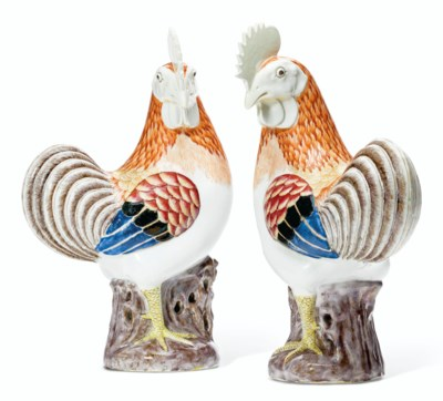 A LARGE PAIR OF ROOSTERS