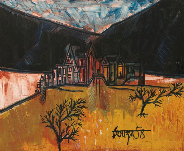 Francis Newton Souza (1924-2002), Spanish Landscape, 1958. Oil on canvas. 23⅝ x 28 ¾  in (60 x 73  cm). Estimate $120,000-180,000. Offered in South Asian Modern + Contemporary Art on 18 March 2020 at Christie's in New York