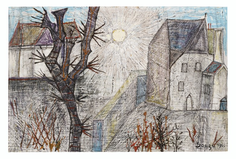 Francis Newton Souza (1924-2002), Untitled (Landscape with Tree), 1955. Pencil, gouache and oil on paper.15¼ x 22  in (38.7 x 55.9  cm). Estimate $70,000-90,000. Offered in South Asian Modern + Contemporary Art on 18 March 2020 at Christie's in New York