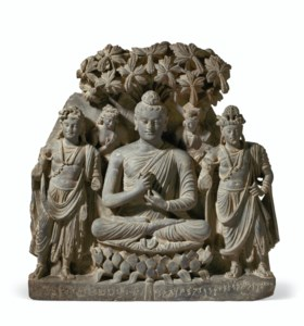 A RARE AND MAGNIFICENT GRAY SCHIST RELIEF TRIAD OF BUDDHA SH
