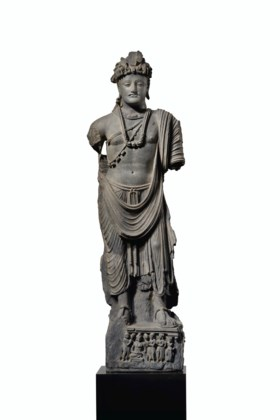A LARGE AND IMPORTANT GRAY SCHIST FIGURE OF A BODHISATTVA