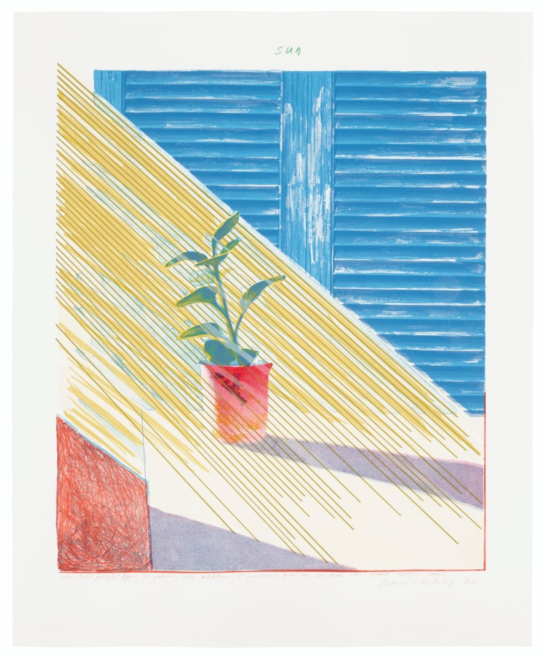 David Hockney (b. 1937), Sun State I. Lithograph and screenprint in colours on Arjomari paper.Sheet 37¼ x 30½  in (946 x 775  mm). Estimate $30,000-50,000. Offered in Contemporary Edition on 4 March 2020 at Christie's in New York