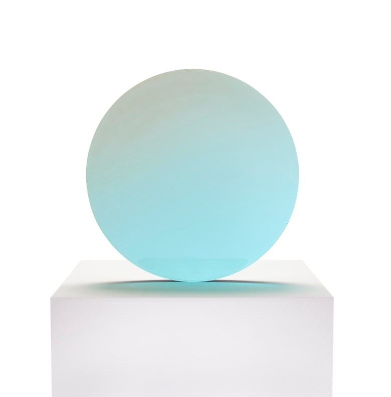 De Wain Valentine (b. 1936), Circle,circa 1970. Cast polyester resin.17¼x 17¼x ⅞ in (43.8 x 43.8 x 2.2 cm). Estimate $40,000-60,000. Offered in  First Open, 4-18 August 2020, Online