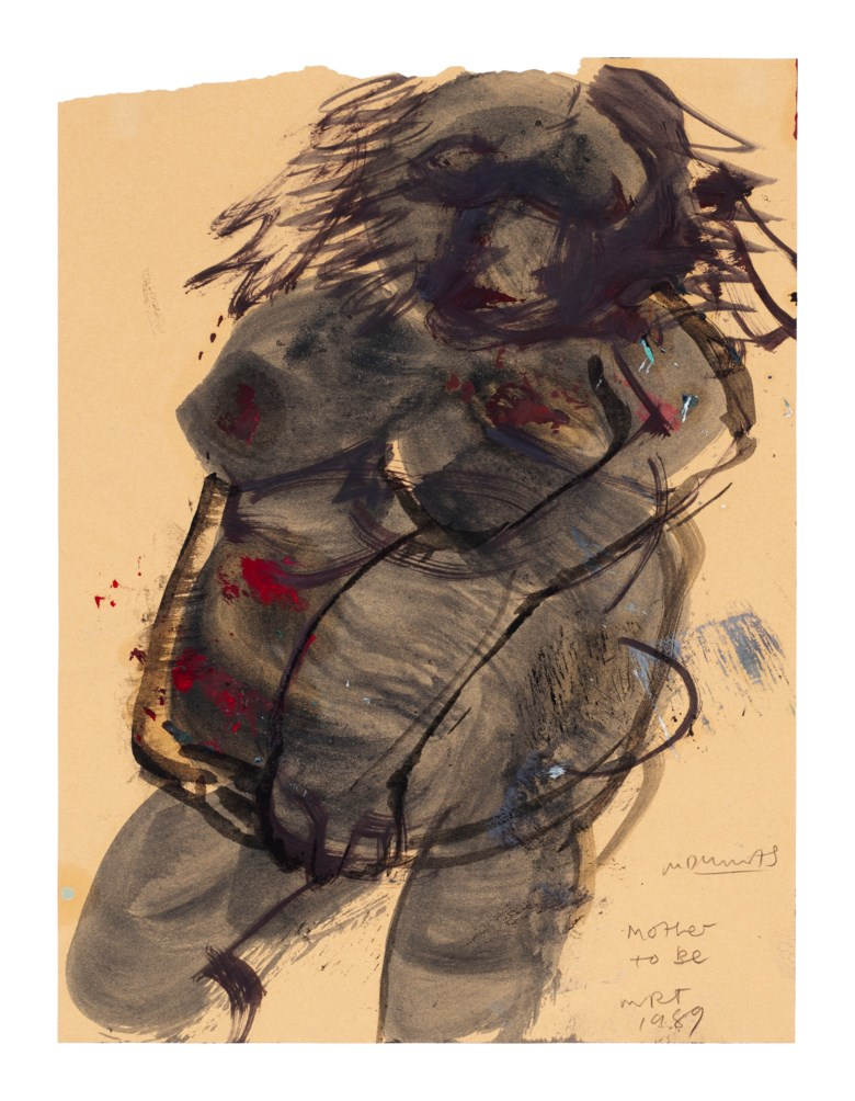 Marlene Dumas (b. 1953), Mother to Be, 1989. Ink, watercolour and acrylic on brown paper.12½x 9½in (31.7 x 24.1 cm). Estimate $20,000-30,000. Offered in  First Open, 4-18 August 2020, Online