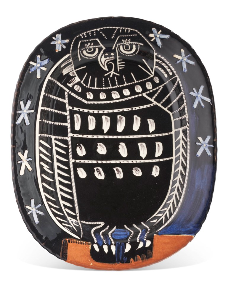 Pablo Picasso (1881-1973), Hibou brillant (A.R. 285), conceived in 1955 and executed in an edition of 450. Length 15⅜ in (39.2 cm). Estimate $12,000-18,000. Offered in Picasso Ceramics, 23 November-7 December 2020, Online