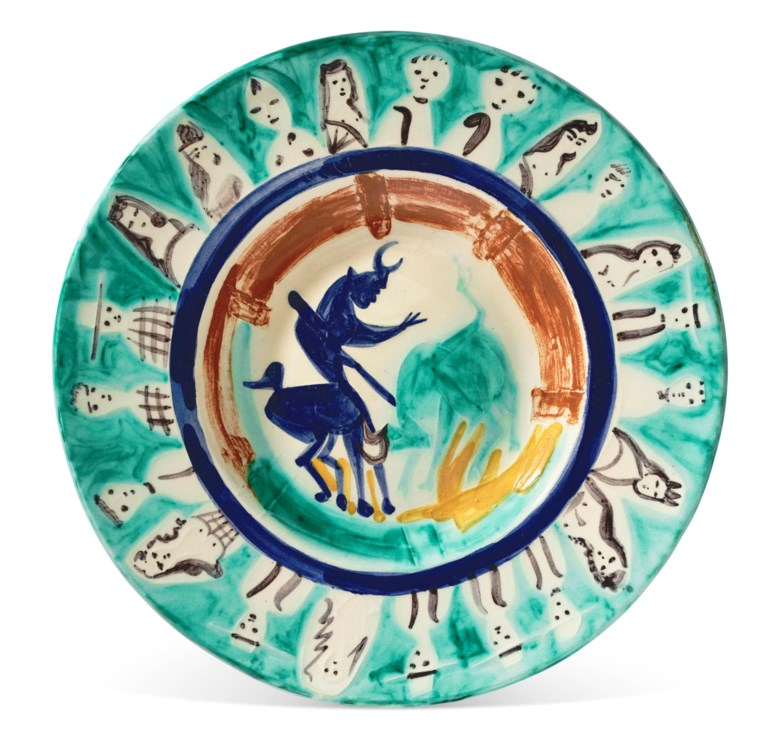 Pablo Picasso (1881-1973), Corrida aux personnages (A.R. 104), conceived on 29 June 1950 and executed in an edition of 50. Diameter 15¼ in (38.7 cm). Estimate $15,000-20,000.  Offered in Picasso Ceramics, 23 November-7 December 2020, Online