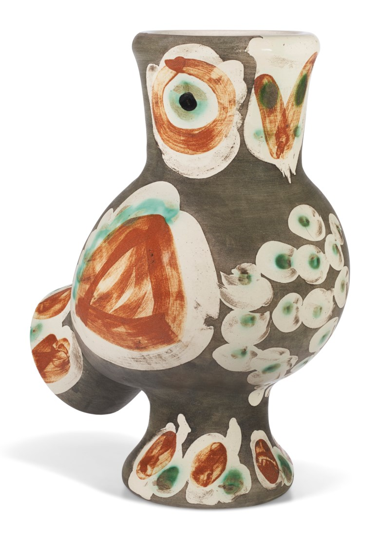 Pablo Picasso (1881-1973), Chouette (A.R. 542), conceived in 1968 and executed in a numbered edition of 500. Height 11½ in (29.3 cm). Estimate $12,000-18,000. Offered in Picasso Ceramics, 23 November-7 December 2020, Online