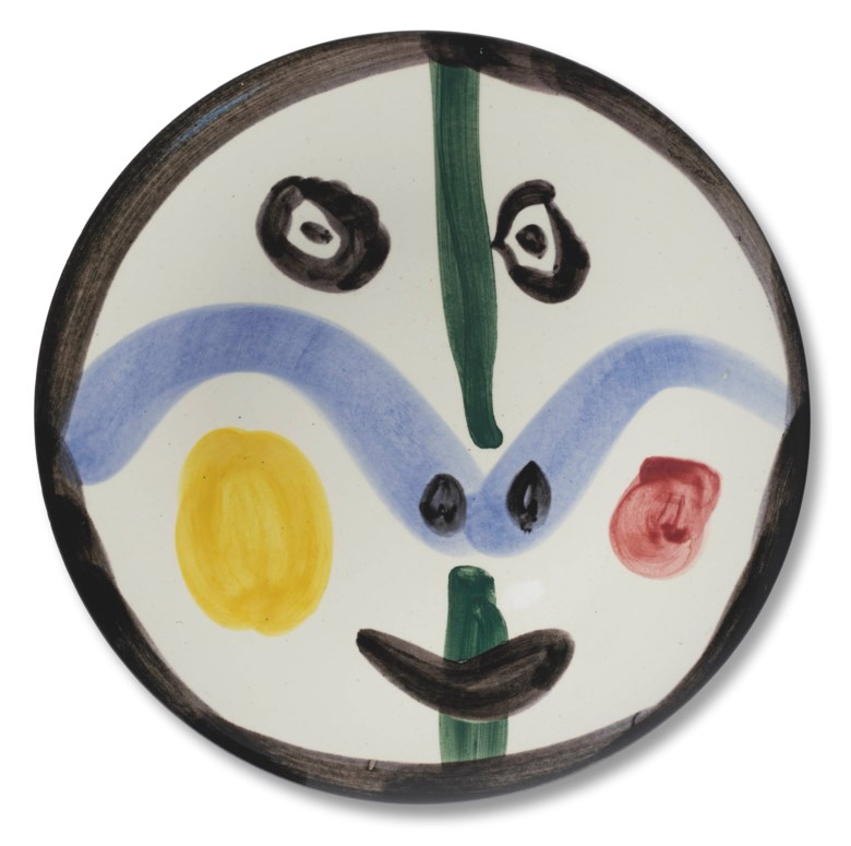 Pablo Picasso (1881-1973), Visage no. 0 (A.R. 458), conceived in 1963 and executed in a numbered edition of 500. Diameter 10⅛ in (25.7 cm). Estimate $6,000-8,000. Offered in Picasso Ceramics, 23 November-7 December 2020, Online