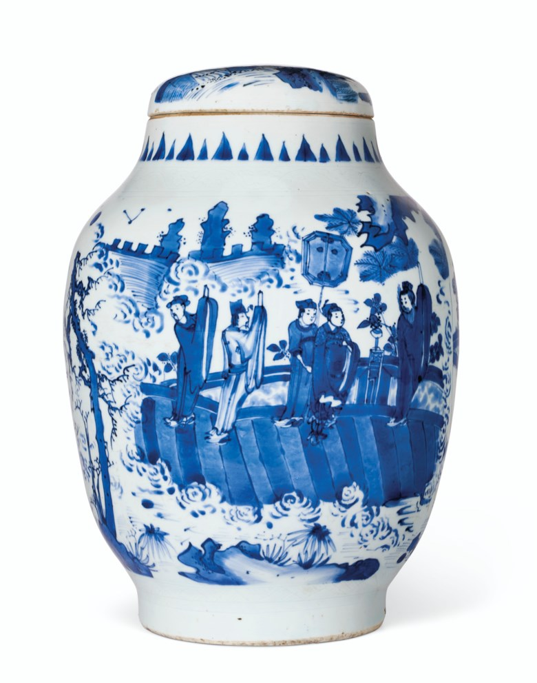 A rare large blue and white ovoid jar and cover, Chongzhen period (1628-1644). 12⅞ in (32.7 cm) high. Estimate $20,000-30,000. Offered in Chinese Ceramics and Works of Art, 7-24 July 2020, online