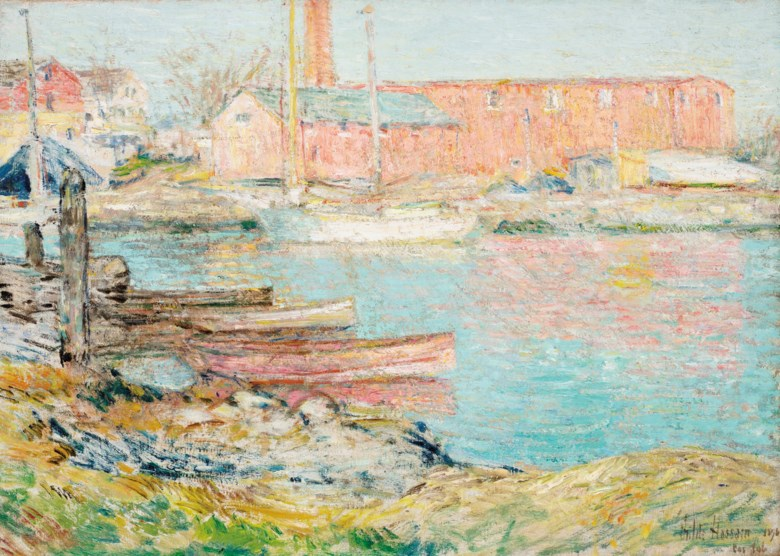 Childe Hassam (1859-1935), The Red Mill, Cos Cob, 1896. Oil on canvas. 16¾ x 24 in (42.4 x 61 cm). Estimate $200,000-300,000. Offered in American Art Online, 23 July to 7 August 2020, online