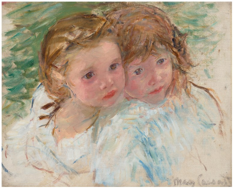 Mary Cassatt (1844-1926), Two Little Sisters, circa 1901-02. Oil on canvas. 13 x 16¼ in (33 x 41.3 cm). Estimate $400,000-600,000. Offered in  American Art Online , 23 July to 7 August 2020, online
