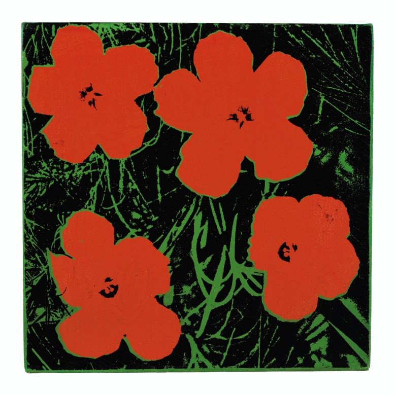 Andy Warhol (1928-1987), Flowers, 1964. Acrylic and silkscreen ink on canvas. 14 x 14  in (35.6 x 35.6  cm). Sold for $435,000 on 5 March 2020 at Christie's in New York