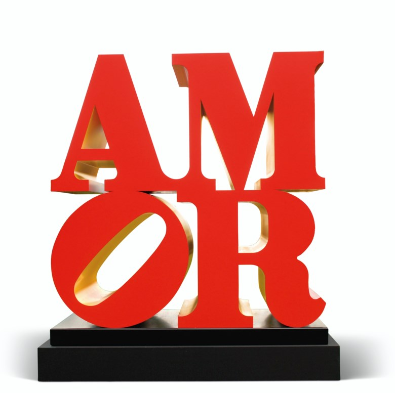 Robert Indiana (1928-2018), Amor, conceived in 1998 and executed in 2006. Polychromed aluminum. This work is number two from an edition of five. 96 x 96 x 48 in (243.8 x 243.8 x 121.9  cm). Estimate $650,000-850,000. Offered in Post-War to Present on 5 March 2020 at Christie's in New York