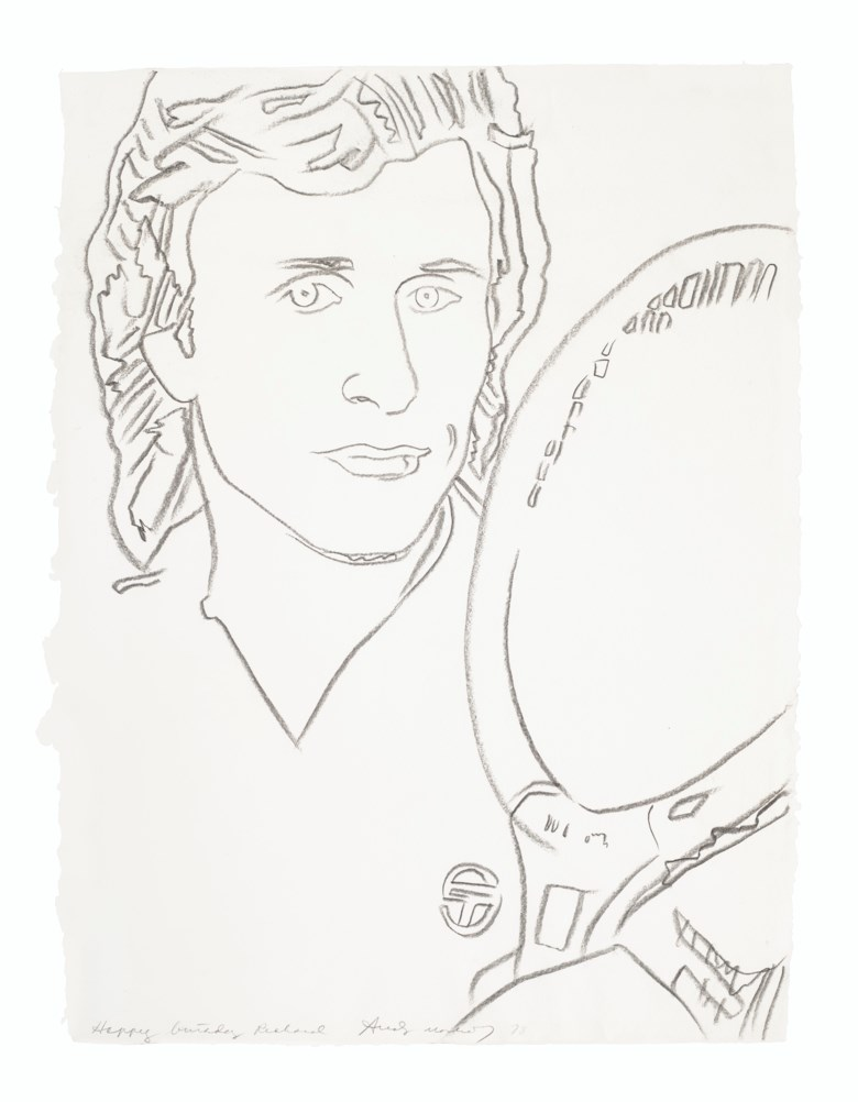 Andy Warhol (1928-1987), Vitas Gerulaitis, 1978. Graphite on paper. 31¼ x 24  in (79.4 x 61  cm). Sold for $50,000 on 5 March 2020 at Christie's in New York