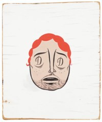Untitled (Red Head on White Background)