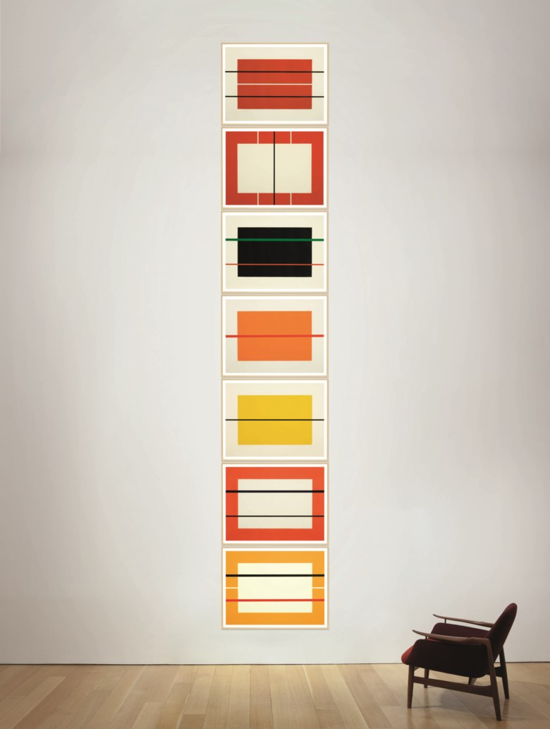 Donald Judd (1928-1994), Untitled, 1990. The complete set of seven woodcuts in colours, on Tosa Hanga paper.Each Sheet 23½ x 31½  in (600 x 800  mm). Estimate $100,000-150,000. Offered in Prints and Multiples  on 20-21 October 2020 at Christie's in New York