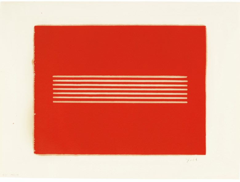 Donald Judd (1928-1994), Untitled, 1962-79.Woodcut in cadmium red, on offset paper.Sheet 21⅛ x 28½  in (537 x 724  mm). Estimate $18,000-25,000. Offered in Prints and Multipleson 20-21 October 2020 at Christie's in New York
