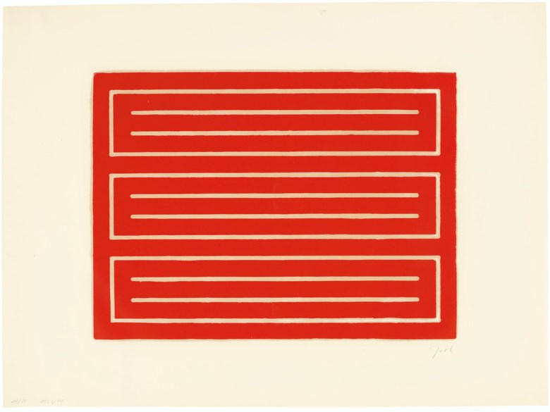 Donald Judd (1928-1994), Untitled one print, 1962-79. Woodcut in cadmium red, on offset paper.Sheet 22 x 29¾  in (559 x 756  mm). Estimate $20,000-30,000. Offered in Prints and Multipleson 20-21 October 2020 at Christie's in New York