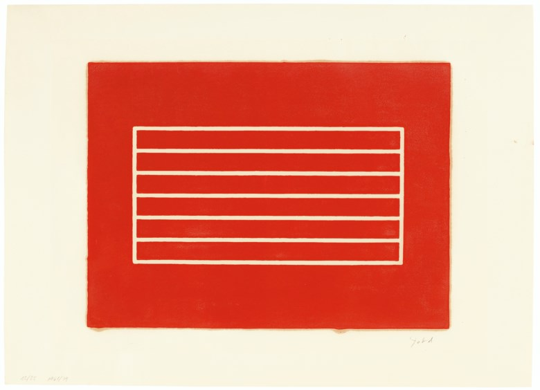 Donald Judd (1928-1994), Untitled one print, 1961-79. Woodcut in cadmium red, on offset paper.Sheet 21½ x 29¾  in (546 x 756  mm). Estimate $20,000-30,000. Offered in Prints and Multiples  on 20-21 October 2020 at Christie's in New York
