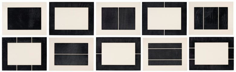Donald Judd (1928-1994), Untitled, 1988.The complete set of ten woodcuts in ivory black on Okawara paper.Each Sheet 23½ x 31½  in (597 x 800  mm). Estimate $200,000-300,000. Offered in Prints and Multiples  on 20-21 October 2020 at Christie's in New York