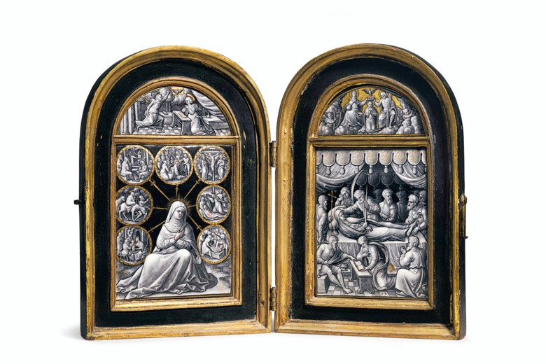 A parcel-gilt grisaille enamel diptych of the seven sorrows of the Virgin and the death of the Virgin, by Pierre Reymond (c. 1513-after 1584), Limoges, circa 1540s, the case possibly 16th or 17th century. 11¼ in (27.9 cm) high, 15 in (38.1 cm) wide, 1⅛ in (2.5 cm) deep, overall open. Estimate $50,000-80,000. Offered in Old Masters on 15 October 2020 at Christie's in New York