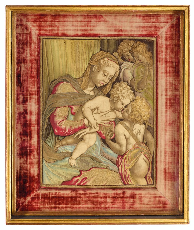 A gold, silver and silk tapestry of the Virgin and Child and Saint John the Baptist and two angels, Italian, after Andrea del Sarto, probably by Pietro Févère, the Medici tapestry workshops, Florence, circa 1618-1619. 16½  in (42  cm) high, 13½  in (34.3  cm) wide, framed. Estimate $30,000-50,000. Offered in Old Masters on 15 October 2020 at Christie's in New York