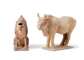 TWO PAINTED POTTERY FIGURES OF ANIMALS