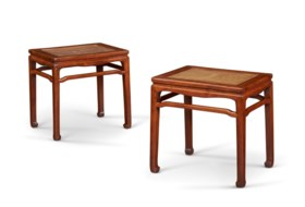 A PAIR OF HUANGHUALI STOOLS