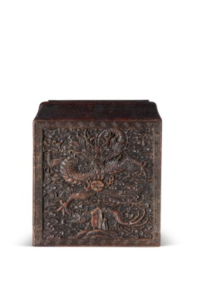 A CARVED SQUARE SOFTWOOD SEAL BOX COVER