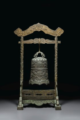 A RARE DATED PARCEL-GILT BRONZE TEMPLE BELL AND A STAND