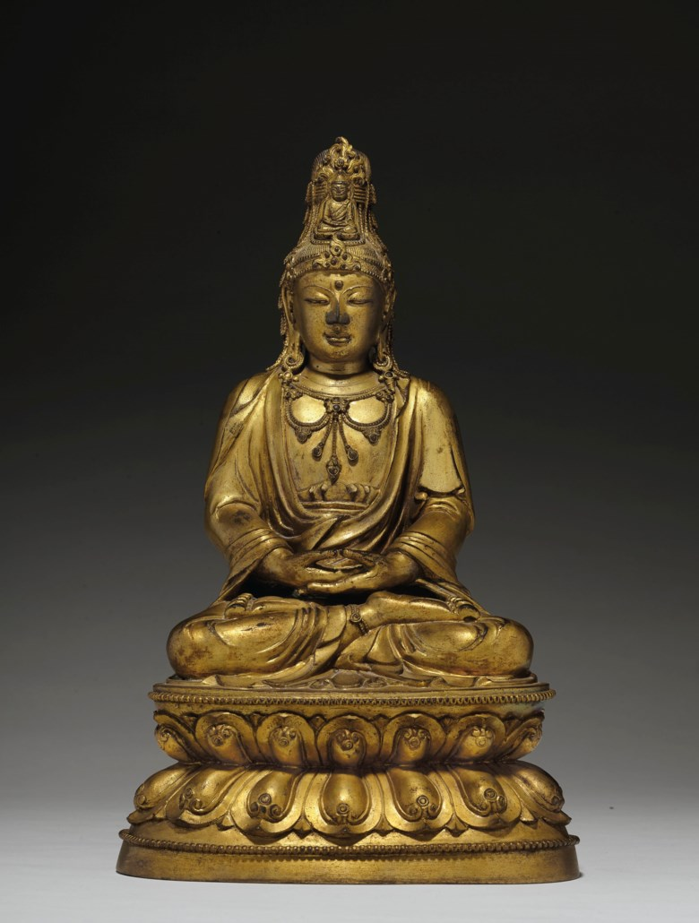 A very rare gilt-bronze figure of seated Guanyin, 17th-18th century. 14⅞  in (37.8  cm) high. Estimate $60,000-80,000. Offered in Important Chinese Ceramics and Works of Art  on 25 September 2020 at Christie's in New York