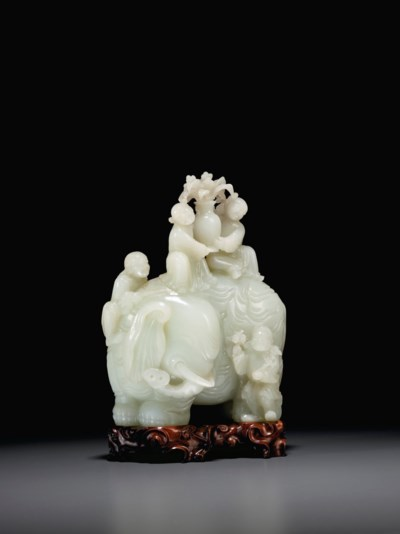 A LARGE AND FINELY CARVED WHIT