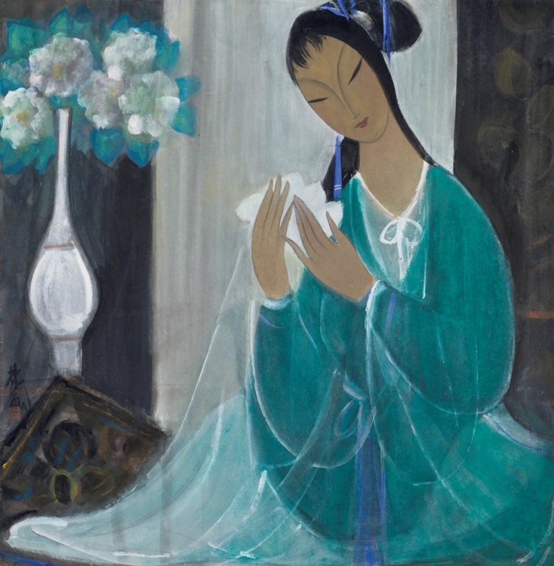 Lin Fengmian (1900-1991), Lady.Scroll, mounted and framed, ink and colour on paper. 26⅞ x 26¼  in (68.3 x 66.6  cm). Estimate $200,000-300,000. Offered in Important Chinese Ceramics and Works of Art  on 25 September 2020 at Christie's in New York