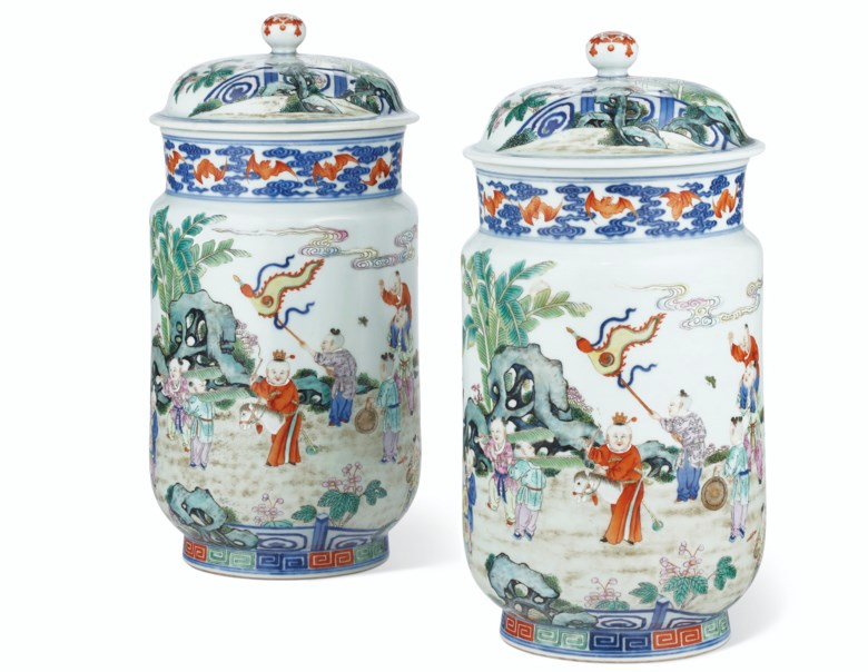 A very rare pair of famille rose 'boys' jars and covers, Qianlong six-character seal marks in underglaze blue and of the period (1736-1795). 11¼  in (28.5  cm) high. Sold for $1,650,000 on 25 September 2020 at Christie's in New York